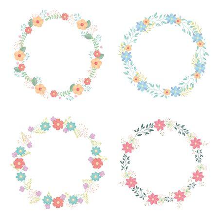 Illustration pour circular crowns with flowers and leafs decoration - image libre de droit
