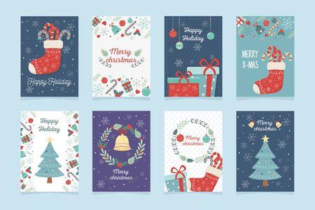Illustration pour set of poster decoration celebration happy christmas - image libre de droit