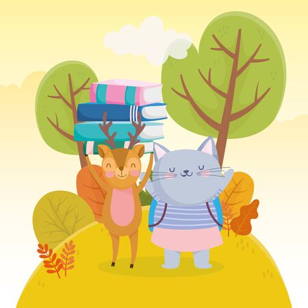back to school education derr with books and cat with backpack vector illustration