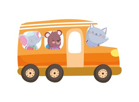 Illustration for back to school education cute elephant bear and cat in bus transport vector illustration - Royalty Free Image