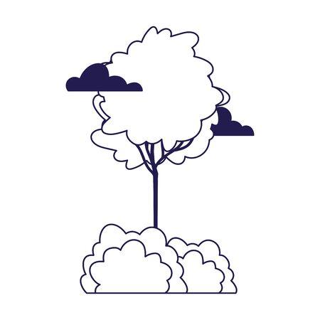 greenery tree bushes foliage vegetation clouds