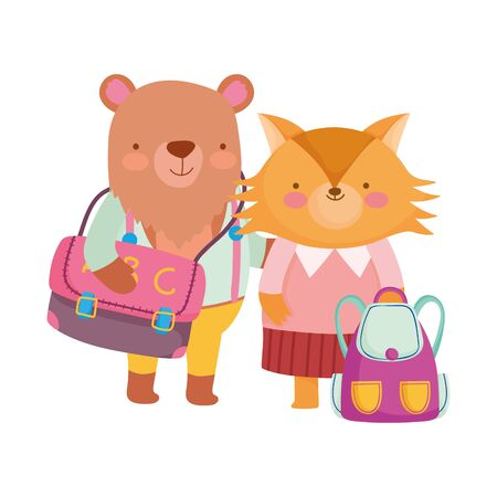 Illustration pour back to school, fox and bear with clothes and backpacks - image libre de droit