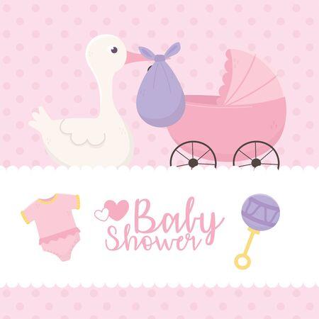 Illustration pour baby shower, stork with purple diaper pram bodysuit celebration vector illustration - image libre de droit