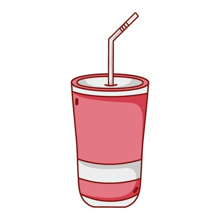 Illustration pour fast food disposable cup with straw cartoon isolated icon - image libre de droit