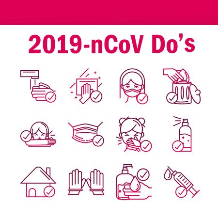 Illustration pour avoid and prevent spread of covid19 icons set gradient icon - image libre de droit
