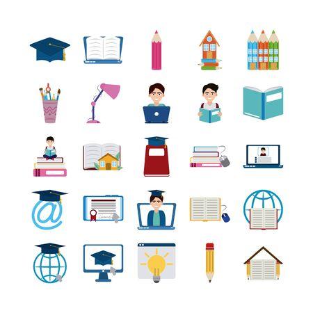 Illustration pour home education school learn supplies icons set vector illustration flat style icon - image libre de droit