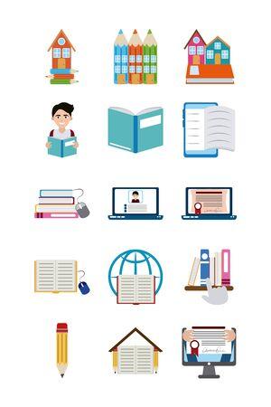Illustration pour home education school learn supplies icons set flat style icon - image libre de droit