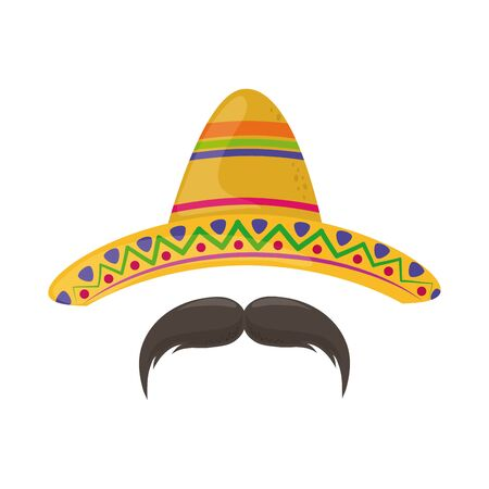 Illustration for hat and mustache cinco de mayo mexican celebration vector illustration flat style icon - Royalty Free Image