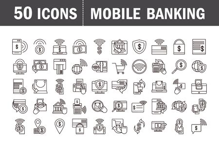 Illustration pour mobile banking shopping or payment market online, ecommerce icons set line and fill line style icon - image libre de droit