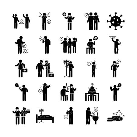 Illustration for coronavirus covid 19, health pictogram, prevention, symptoms, medical icons set , silhouette style icon - Royalty Free Image