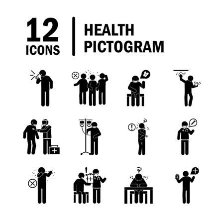 Ilustración de coronavirus covid 19, health pictogram, prevention, symptoms, medical icons set , silhouette style icon - Imagen libre de derechos