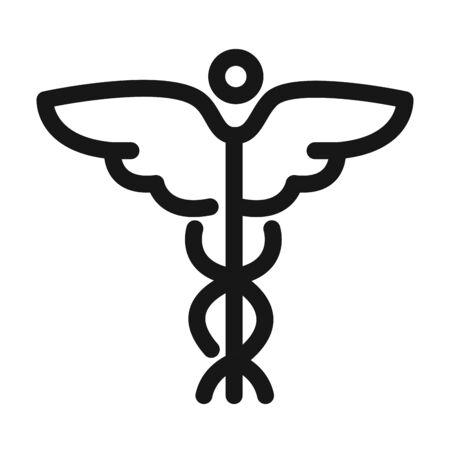 Illustration pour caduceus medical symbol health care line style icon - image libre de droit