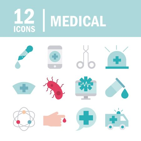 medical health care equipment assistance support icons set line and fill style