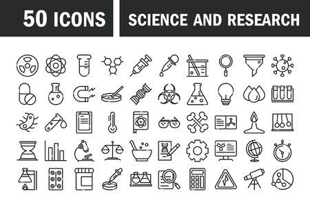 Illustration pour science and research laboratory study icons collection vector illustration line style icon - image libre de droit