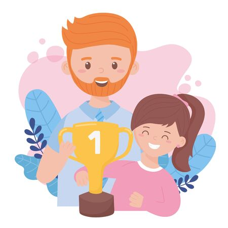 Illustration for Father with daughter with trophy design, Fathers day celebration and love theme Vector illustration - Royalty Free Image