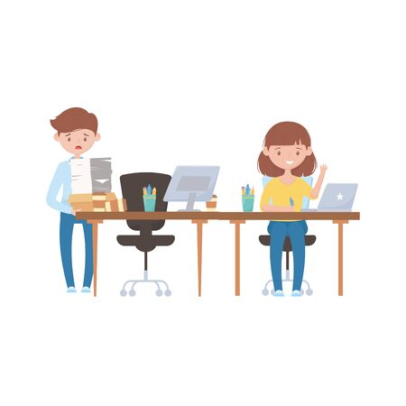 Illustration pour stress at work, stressed employee carrying pile of documents and female worker at desk - image libre de droit