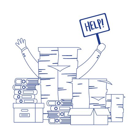 Illustration pour stress at work, hand holding help placard pile of papers and sticky notes - image libre de droit