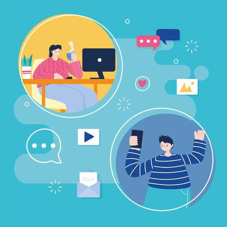 Illustration for young man with mobile and woman with laptop networking and social media - Royalty Free Image