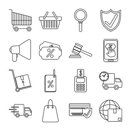 Illustration pour online shopping mobile marketing and e-commerce icons set line style vector illustration - image libre de droit