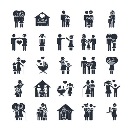 Illustration for family day, father mother kids grandparents characters, set icon in silhouette style - Royalty Free Image