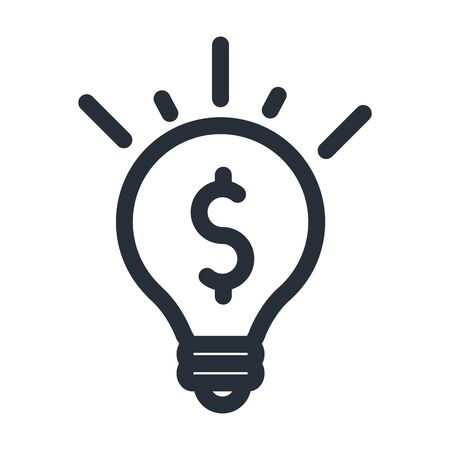 Illustration pour dollar inside light bulb line style icon of money financial banking commerce and market theme Vector illustration - image libre de droit