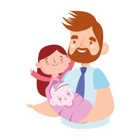 Ilustración de young dad with baby and daughter characters, family day vector illustration - Imagen libre de derechos