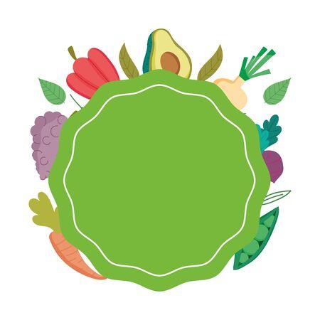 Illustration pour healthy food fresh nutrition oraganic label template isolated icon design vector illustration - image libre de droit