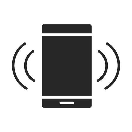 Illustration pour mobile phone or smartphone connection internet electronic technology device silhouette style icon vector illustration - image libre de droit