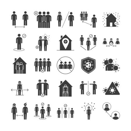 Illustration for covid 19 coronavirus social distancing prevention, outbreak spreading vector illustration silhouette style icons set - Royalty Free Image
