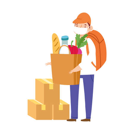 Illustration pour safe delivery at home during coronavirus covid 19 , worker with protective mask and cardboard boxes grocery bag vector illustration - image libre de droit