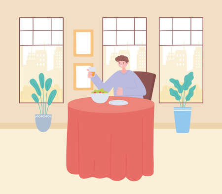Illustration pour man in the restaurant alone because of social distancing restrictions, covid 19 pandemic, prevention of coronavirus infection vector illustration - image libre de droit