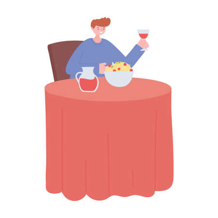 Illustration pour man in the restaurant eating and drinking alone because of social distancing restrictions, covid 19 pandemic vector illustration - image libre de droit