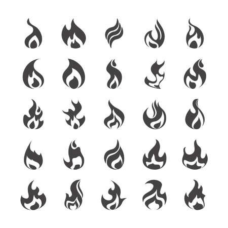 Photo pour fire flame burning hot glow flat design icons set white background vector illustration - image libre de droit