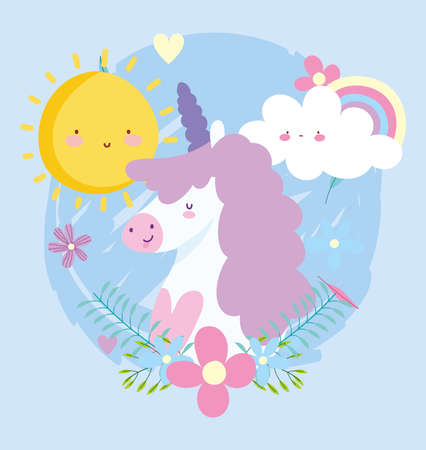 Illustration pour little unicorn rainbow flowers sun cloud fantasy magic animal cartoon vector illustration - image libre de droit