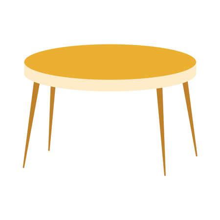 Illustration pour wooden round table furniture isolated icon design vector illustration - image libre de droit