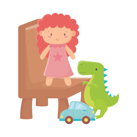 Illustration for kids toys doll on chair dinosaur and car object amusing cartoon vector illustration - Royalty Free Image