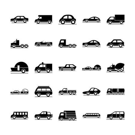 Illustration for car model construction passenger public service transport vehicle silhouette style icons set design vector illustration - Royalty Free Image