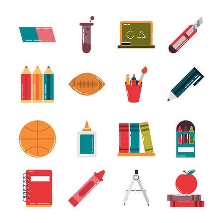 Ilustración de school education supply class stationery flat style icons set vector illustration - Imagen libre de derechos