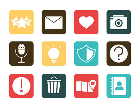 Illustration for mobile application email like camera audio protection contact, web button menu digital flat style icons set vector illustration - Royalty Free Image