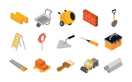 Illustration pour isometric repair construction work tool and equipment wheelbarrow spatula saw truck shovel flat style icons set vector illustration - image libre de droit
