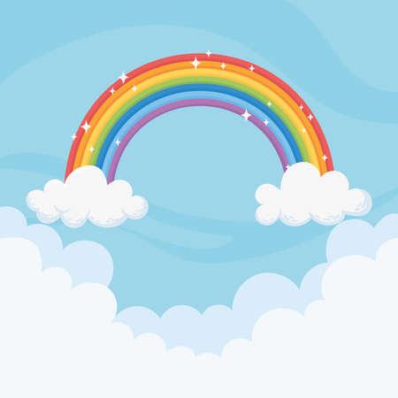 Illustration pour sky bright rainbow clouds magic decoration blue background vector illustration - image libre de droit