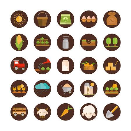 Illustration pour agriculture work equipment farm cartoon block and flat icons set vector illustration - image libre de droit