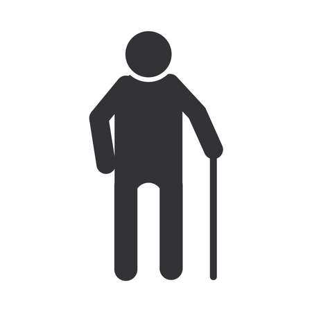 old man with walk stick, world disability day, silhouette icon design vector illustration
