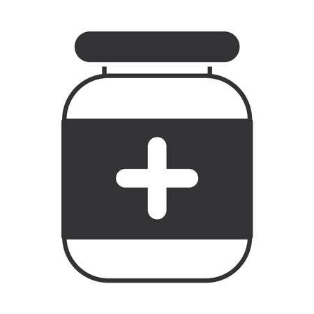 medicine bottle prescription pharmacy, silhouette icon design vector illustration