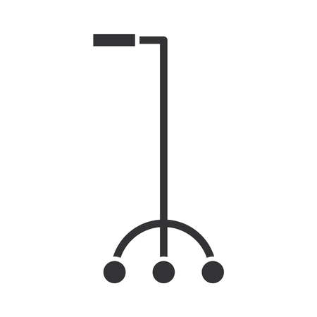 mobility aid device for physically disabled, world disability day, silhouette icon design vector illustration