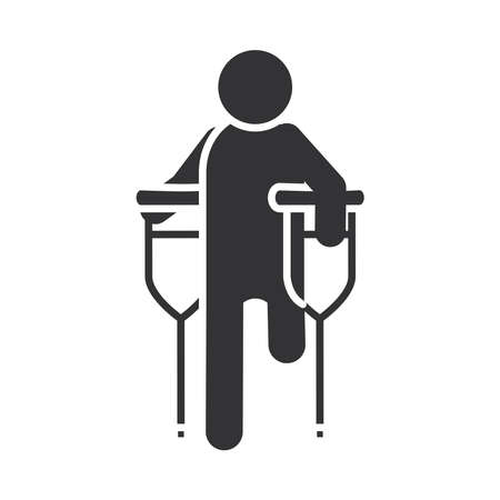 disabled amputee with crutches, world disability day, silhouette icon design vector illustration