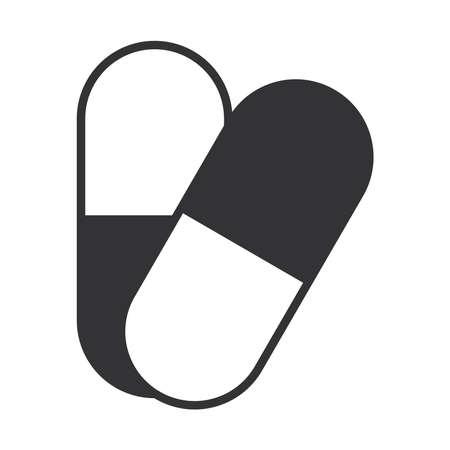 medical prescription capsule medicine, silhouette icon design vector illustration