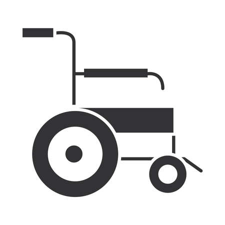 medical wheelchair equipment, world disability day, silhouette icon design vector illustration