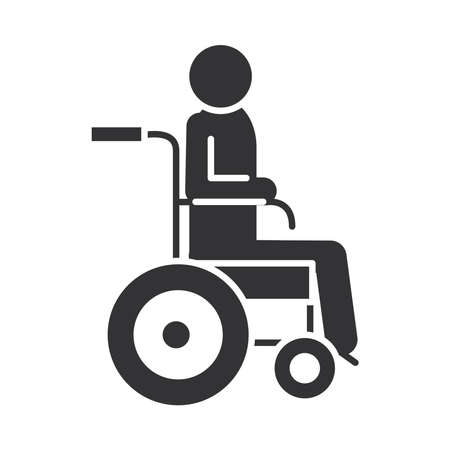 disabled person in wheelchair, world disability day, silhouette icon design vector illustration