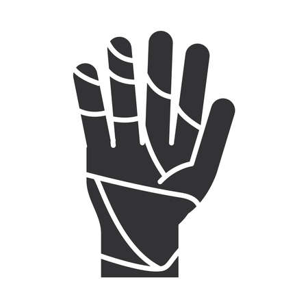 bandaged hand world disability day, silhouette icon design vector illustration